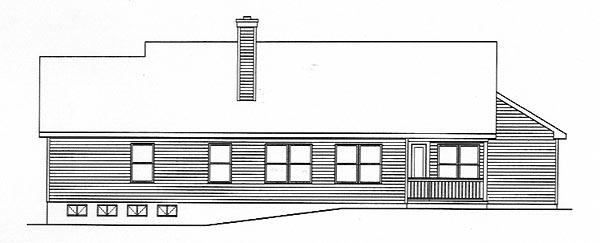 Ranch House Plan 49136 Rear Elevation