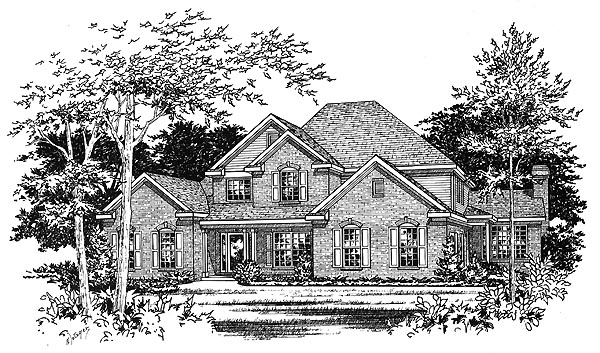 Traditional House Plan 49142 with 4 Beds, 4 Baths, 3 Car Garage Elevation
