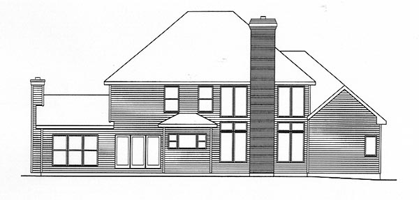 Traditional House Plan 49142 with 4 Beds, 4 Baths, 3 Car Garage Rear Elevation
