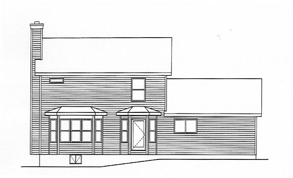Country Rear Elevation of Plan 49144