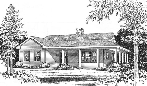Country, One-Story House Plan 49156 with 2 Beds, 1 Baths Elevation
