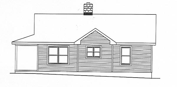 Country, One-Story House Plan 49156 with 2 Beds, 1 Baths Rear Elevation