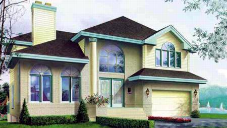European, Narrow Lot House Plan 49244 with 3 Beds, 4 Baths, 1 Car Garage Elevation