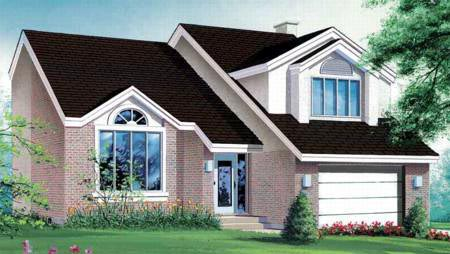 Contemporary House Plan 49343 with 3 Beds, 4 Baths, 1 Car Garage Elevation
