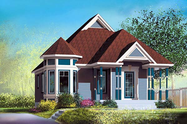 Narrow Lot, One-Story, Victorian House Plan 49476 with 2 Beds, 1 Baths Elevation