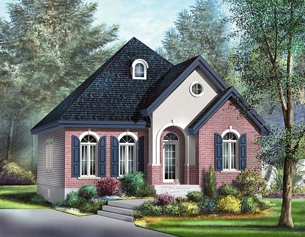 Narrow Lot, One-Story, Victorian House Plan 49506 with 3 Beds, 1 Baths Elevation