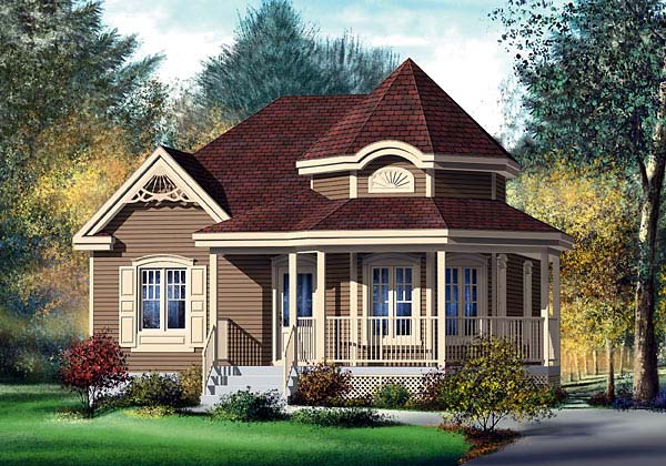 House plan 49571 narrow lot victorian plan with 974 sq for Victorian house plans with turrets
