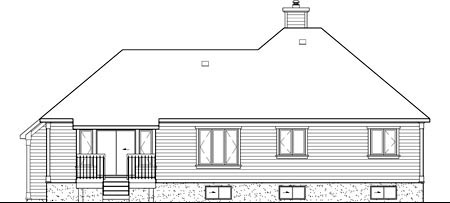 European House Plan 49586 Rear Elevation