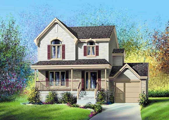 Country, Narrow Lot House Plan 49629 with 3 Beds, 2 Baths, 1 Car Garage Elevation