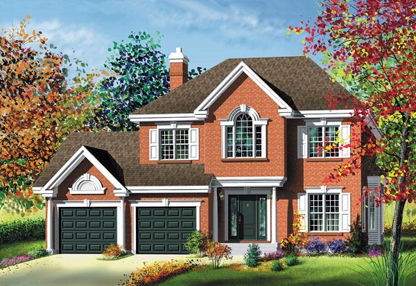 Traditional House Plan 49756 with 3 Beds, 2 Baths, 2 Car Garage Elevation