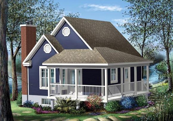 Country House Plan 49824 with 1 Beds, 1 Baths Elevation