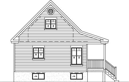 Country, Narrow Lot House Plan 49828 with 4 Beds, 1 Baths Rear Elevation