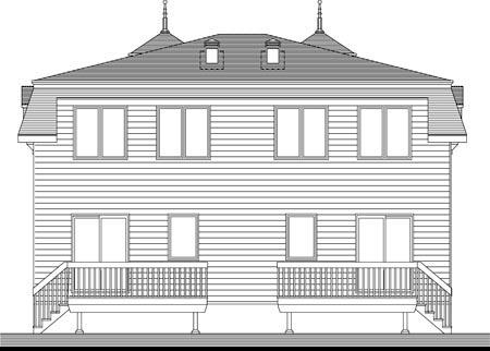 Multi-Family Plan 49841 Rear Elevation