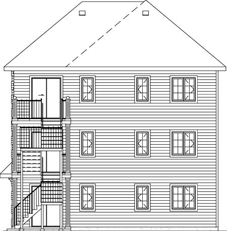 Colonial Traditional Multi-Family Plan 49851 Rear Elevation
