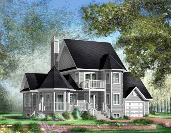 House Plan 49877 | Traditional Style House Plan with 1906 Sq Ft, 3 Bed, 3 Bath, 1 Car Garage Elevation