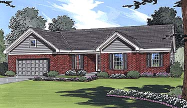 Ranch Traditional Elevation of Plan 50007