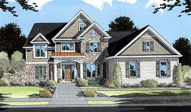 Elevation of European   Traditional   House Plan 50039