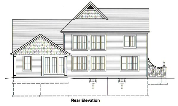 Rear Elevation of European   Traditional   House Plan 50039