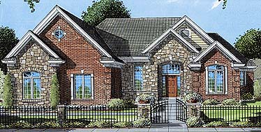 European House Plan 50058 with 3 Beds, 3 Baths, 2 Car Garage Elevation