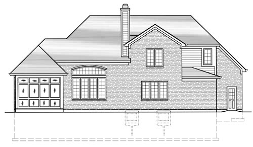 European House Plan 50058 with 3 Beds, 3 Baths, 2 Car Garage Rear Elevation