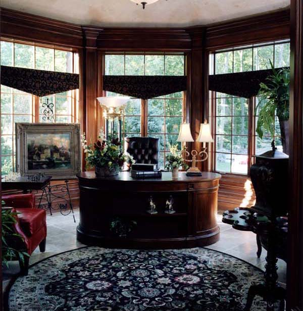The views to the outside surround octagonal library which opens adjacent to the music room.