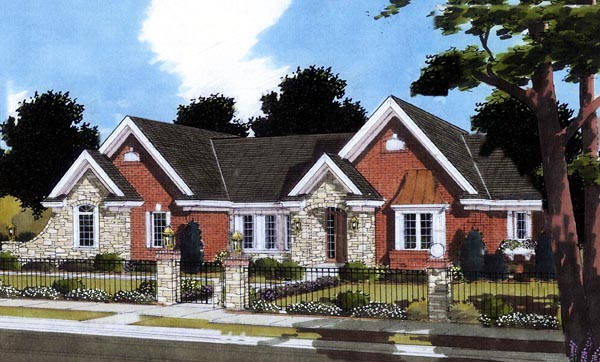 Traditional House Plan 50069 with 3 Beds, 2 Baths, 2 Car Garage Elevation