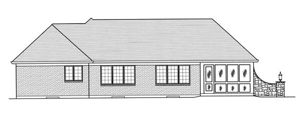 Traditional House Plan 50069 with 3 Beds, 2 Baths, 2 Car Garage Rear Elevation