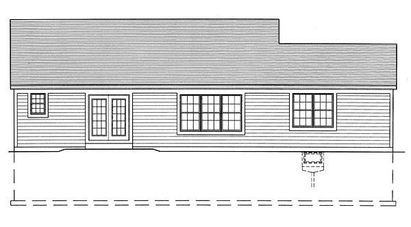 House Plan 50136 with 3 Beds, 2 Baths, 2 Car Garage Rear Elevation