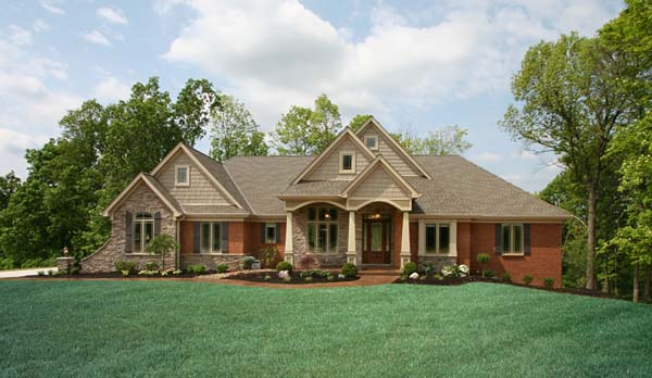 Craftsman house plan 50138 for Brick and stone elevations