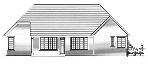 Craftsman Ranch House Plan 50153 Rear Elevation