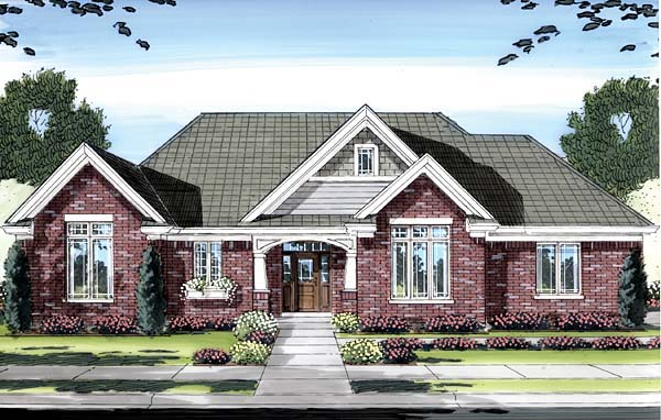 Craftsman, One-Story House Plan 50155 with 3 Beds, 2 Baths, 3 Car Garage Elevation