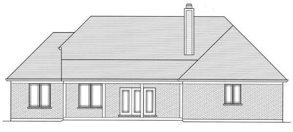 Craftsman, One-Story House Plan 50155 with 3 Beds, 2 Baths, 3 Car Garage Rear Elevation