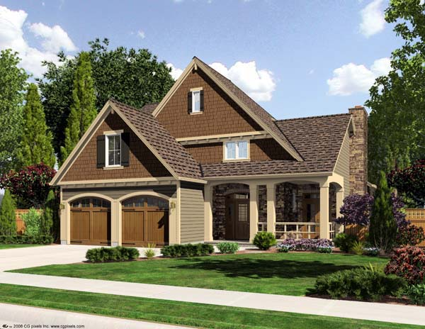 Craftsman House Plan 50164 with 4 Beds, 3 Baths, 2 Car Garage Elevation
