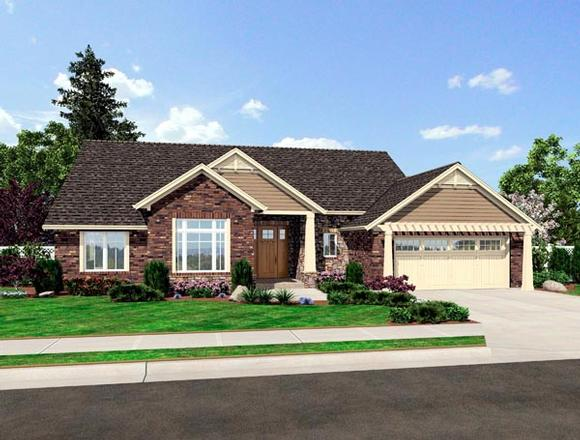 Contemporary, Craftsman House Plan 50184 with 3 Beds, 2 Baths, 2 Car Garage Elevation