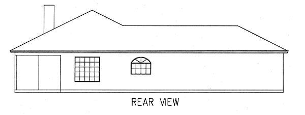 Mediterranean House Plan 50202 with 3 Beds, 2 Baths, 2 Car Garage Rear Elevation