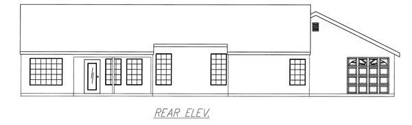 Mediterranean House Plan 50204 with 3 Beds, 2 Baths, 3 Car Garage Rear Elevation