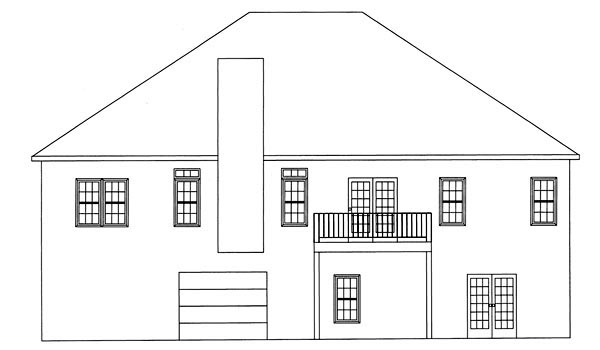 Ranch House Plan 50206 with 3 Beds, 2 Baths, 2 Car Garage Rear Elevation