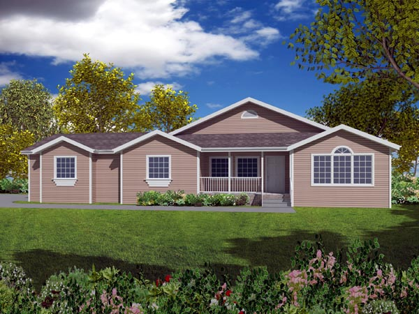 Ranch House Plan 50215 with 3 Beds, 2 Baths, 2 Car Garage Elevation