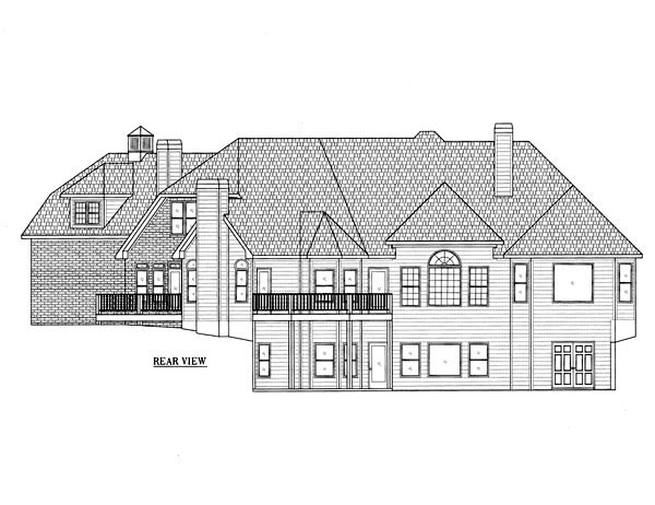 European House Plan 50239 Rear Elevation