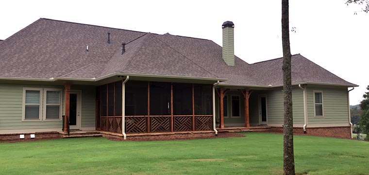 Craftsman, Ranch, Traditional House Plan 50264 with 4 Beds, 3 Baths, 3 Car Garage Rear Elevation