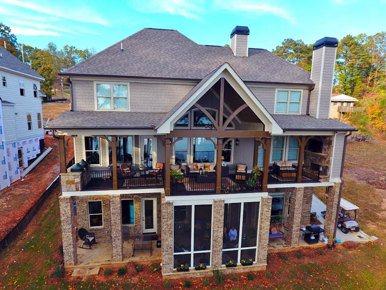 Country, Craftsman, Southern, Traditional House Plan 50270 with 4 Beds, 4 Baths, 3 Car Garage Rear Elevation