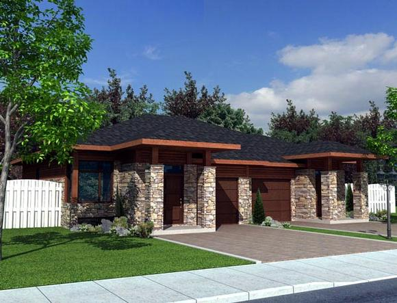 Contemporary Multi-Family Plan 50321 with 4 Beds, 2 Baths, 2 Car Garage Elevation