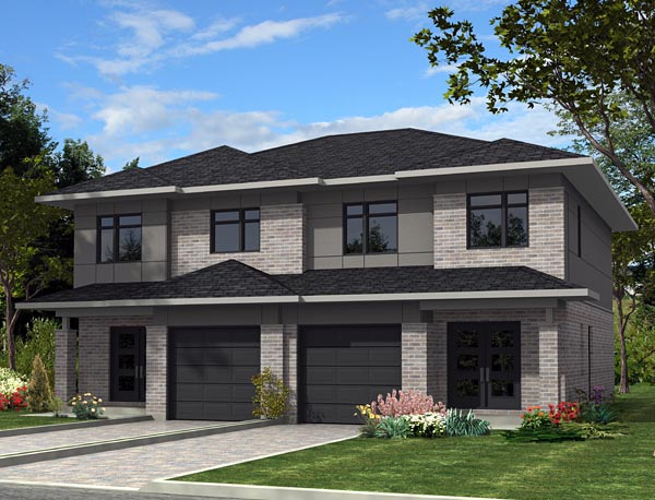 Contemporary Multi-Family Plan 50337 Elevation
