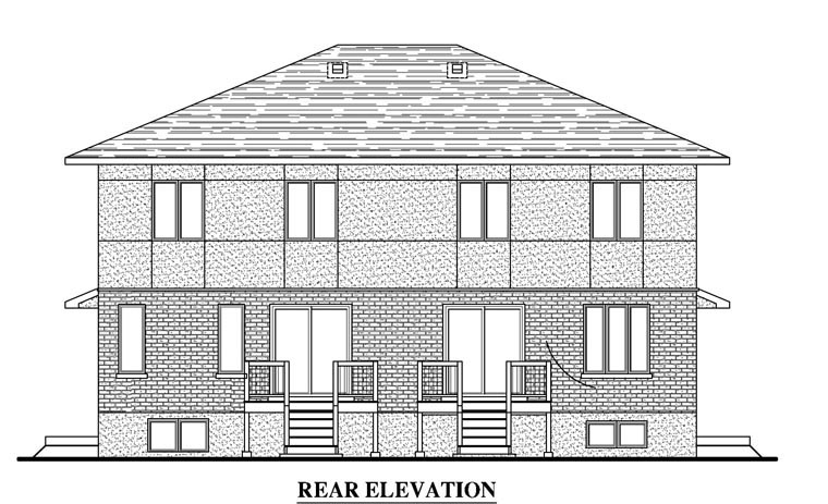 Contemporary Multi-Family Plan 50337 Rear Elevation