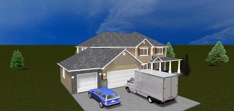 House Plan 50423 with 7 Beds, 4 Baths, 3 Car Garage Elevation