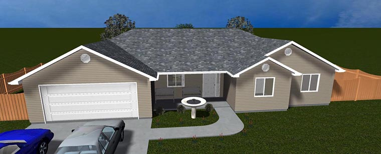 House Plan 50459 with 3 Beds, 2 Baths, 2 Car Garage Elevation