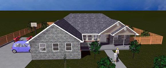 House Plan 50461 with 6 Beds, 4 Baths, 2 Car Garage Elevation