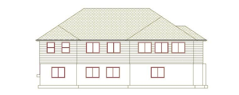 House Plan 50461 with 6 Beds, 4 Baths, 2 Car Garage Rear Elevation