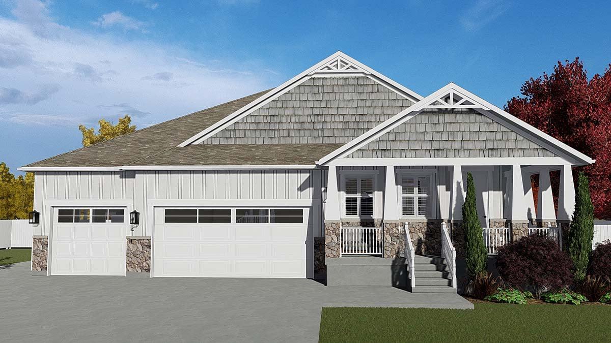 Craftsman House Plan 50526 with 7 Beds, 5 Baths, 3 Car Garage Elevation