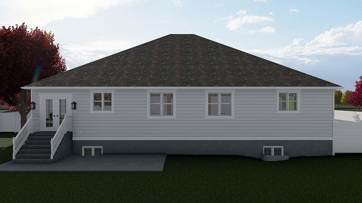 Craftsman House Plan 50526 with 7 Beds, 5 Baths, 3 Car Garage Rear Elevation